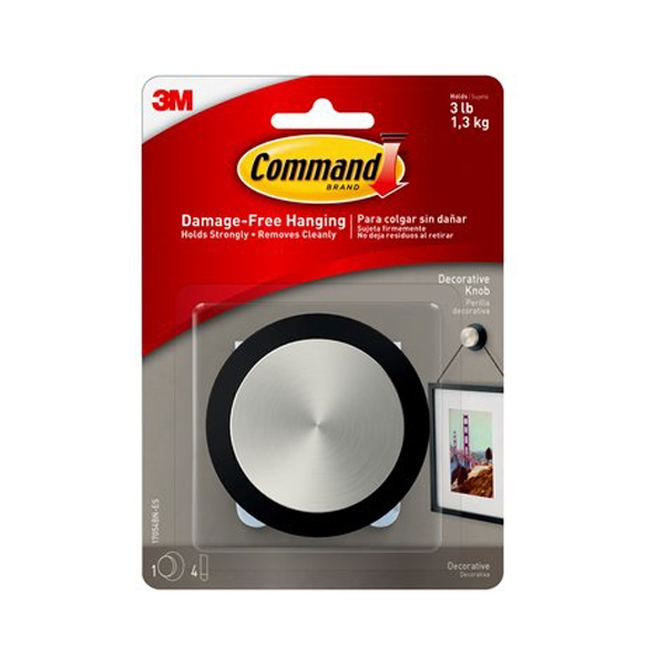 3m Command Decorative Brushed Nickel Round Knob For Picture Hanging Freestyle