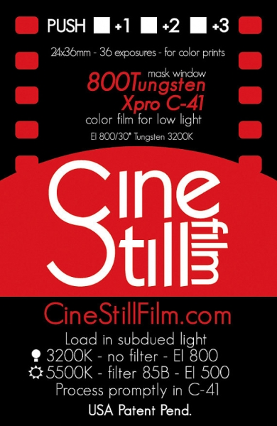 Cinestill is an 800 ISO tungsten balanced color negative motion picture film stock for use as still photography film.