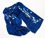 Blue Sunprints Cyanotype Sensitized China Silk Scarf - White