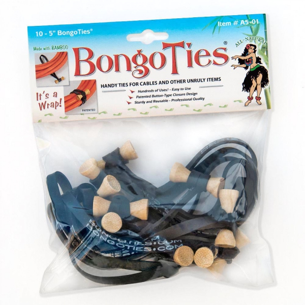 "Bongoties Original Black Standard 5"" Elastic10 Pack"