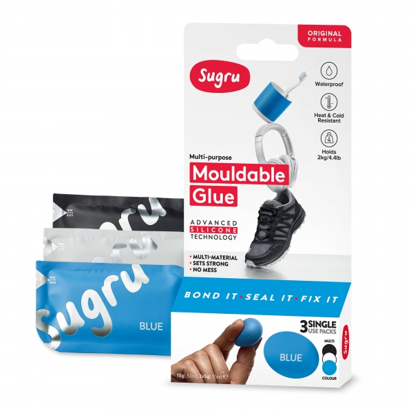 Sugru Original Mouldable Glue - Black, White, Blue 3 Pack