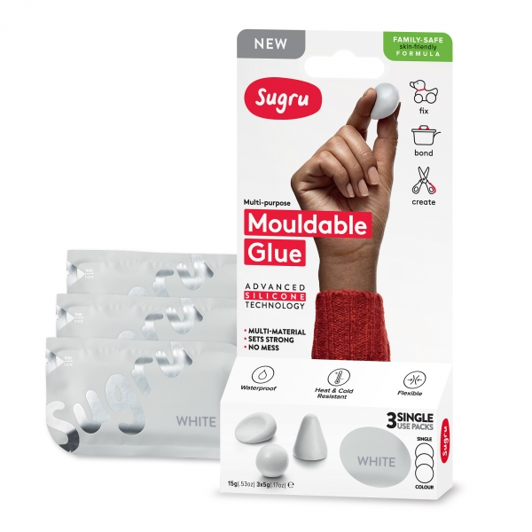 Sugru Family-Safe Mouldable Glue - White 3 Pack