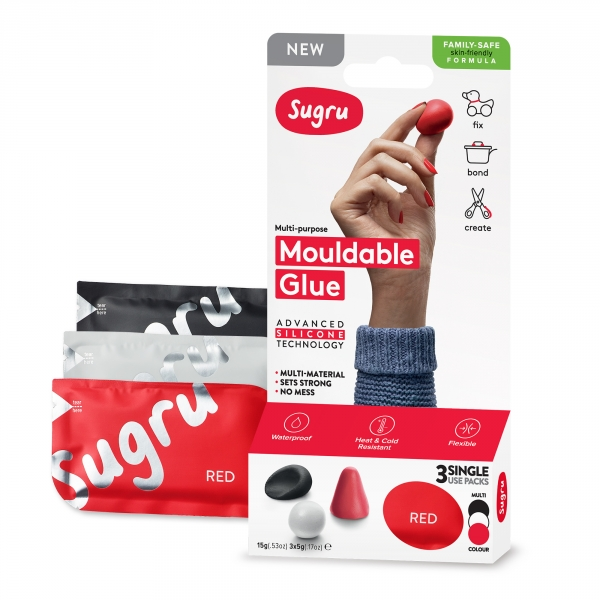 Sugru Family-Safe Mouldable Glue - Black, White, Red 3 Pack