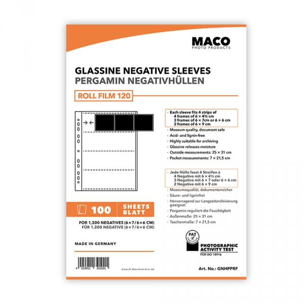 MACO Glassine Negative Sleeves for 120 4 Strips - 100 pack