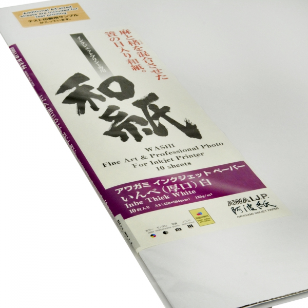 Awagami Inbe Thick White Inkjet Paper - 125gsm A2/10 Sheets