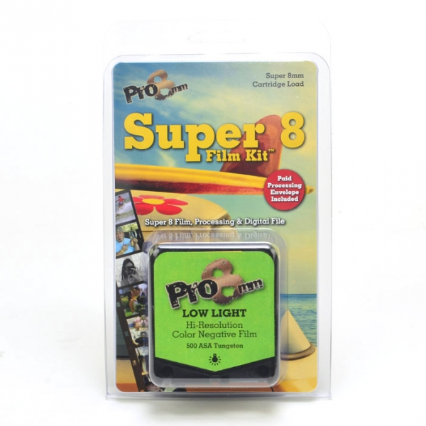 Pro8mm Super 8 Film Kit Low Light is a high resolution color negative film best used in low light conditions such as interiors or early evening.