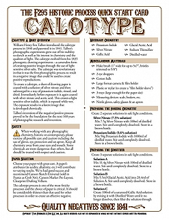 f295 Historic Process Laminated Reference Card for Calotype