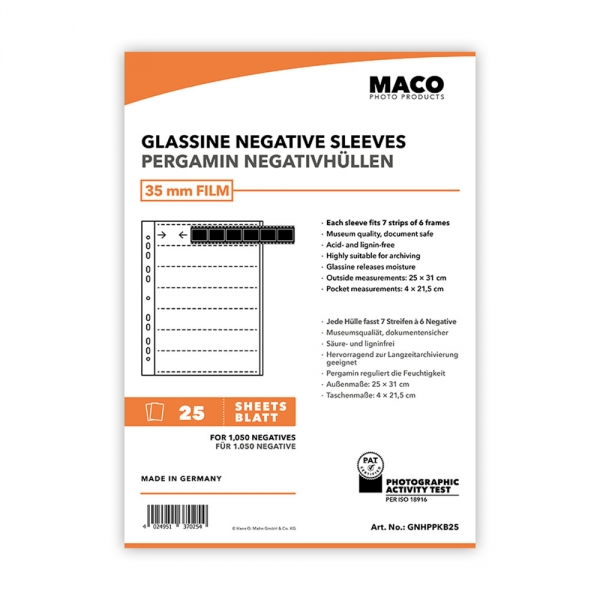 MACO Glassine Negative Sleeves for 35mm 7 Strips of 6 Negatives - 100 pack
