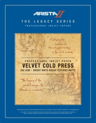 Arista-II Legacy Series Velvet Cold Press Inkjet Paper - 300gsm 17x25/50 Sheets