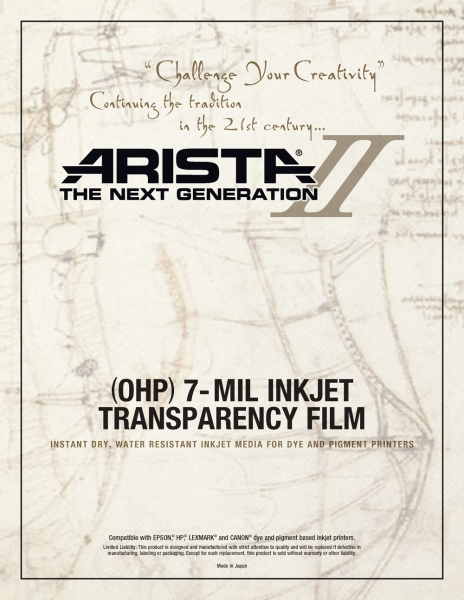 Arista-II Inkjet OHP 7-mil Transparency Film - 8 5x11/20