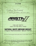 Arista-II Fine Art Natural Cotton Matte Inkjet Paper - 210gsm 11x17/20 Sheets