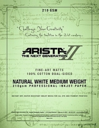 Arista-II Fine Art Natural Cotton Matte Inkjet Paper - 210gsm 11x17/50 Sheets