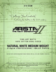 Arista-II Fine Art Natural Cotton Matte Inkjet Paper - 210gsm 8.5x11/20 Sheets