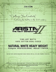"Arista-II Fine Art Natural Cotton Matte Inkjet Paper - 330gsm 24""x50' Roll"