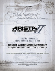 Arista-II Fine Art Bright White Cotton Matte Inkjet Paper - 210gsm 11x17/20 Sheets