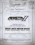 Arista-II Fine Art Bright White Cotton Matte Inkjet Paper - 210gsm 17x22/20 Sheets
