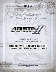 Arista-II Fine Art Bright White Matte Cotton Inkjet Paper - 330gsm 44 in. x 50 ft. Roll