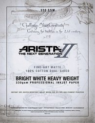 Arista-II Fine Art Bright White Cotton Matte Inkjet Paper - 330gsm 8.5x11/20 Sheets