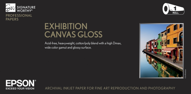 epson exhibition canvas glossy natural inkjet paper 430gsm 13 in