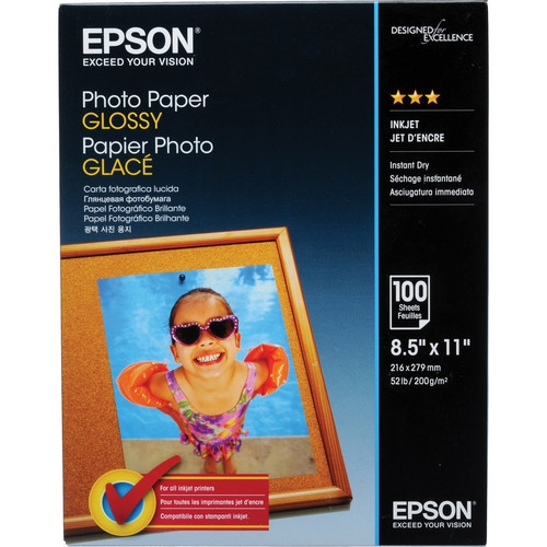 Epson Photo Paper Glossy Inkjet Paper - 225gsm 8 5x11/100 Sheets (formerly  known as Glossy Photo Paper)