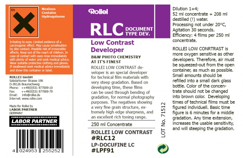 Rollei RLC Low Contrast Film Developer - 250ml