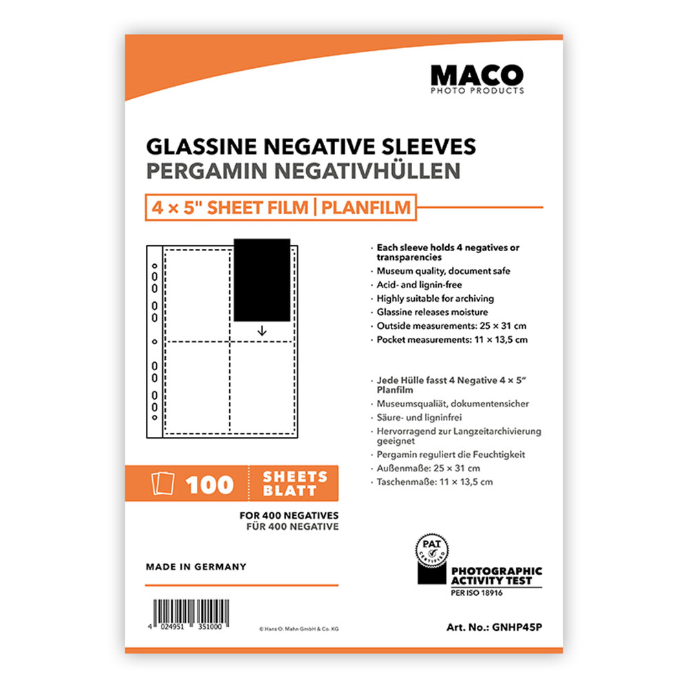 MACO Glassine Negative Sleeve Pages for 4x5 - 100 pack | Freestyle