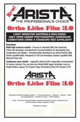 Arista Ortho Litho Film 3.0 - 3.9x4.9/50 Sheets - For 4x5 Film Holders