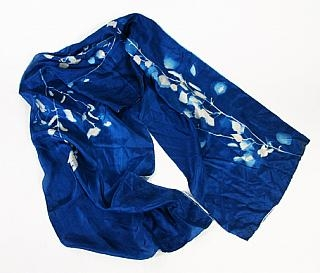 Cyanotype China Silk Scarf White