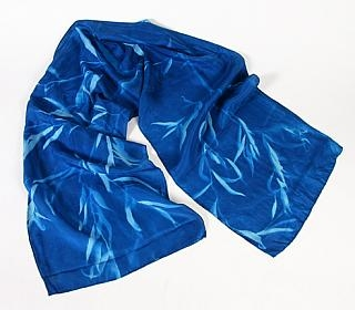 Cyanotype China Silk Scarf Turquoise