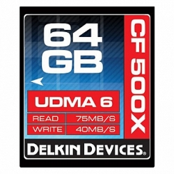 Delkin Devices 64GB Compact Flash (CF) 500X UDMA - Memory Card