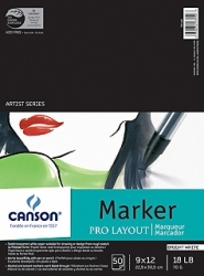 Canson Pro Layout Marker Sketch Pad Uncoated Paper for Alternative Process - 9x12/50 sheet pad