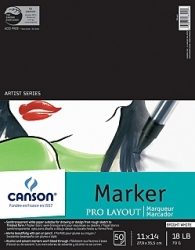 Canson Pro Layout Marker Sketch Pad Uncoated Paper for Alternative Process - 11x14/50 sheet pad