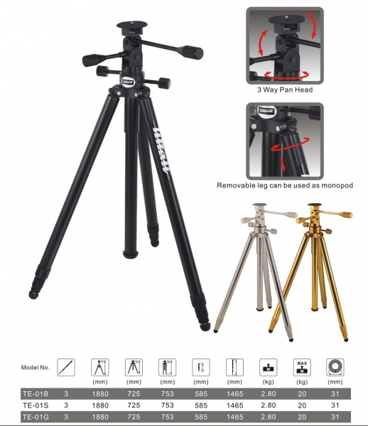 Tiltall TE-01 tripods come in black, gold or silver.