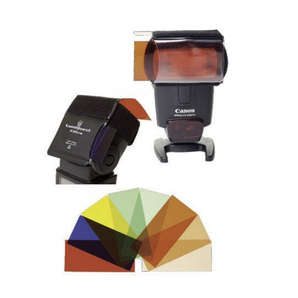 The FXtra is a compact flash gels holder that includes red, blue and yellow special effects gels, and an assortment of green and CTO (color temperature orange) gels required to balance your flash for both fluorescent and incandescent environments, as well as the daylight for which your flash is balanced.