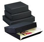 Lineco 11 x 14 x 1.5 inch Museum Drop-Front Metal-Edge Storage Box - Black